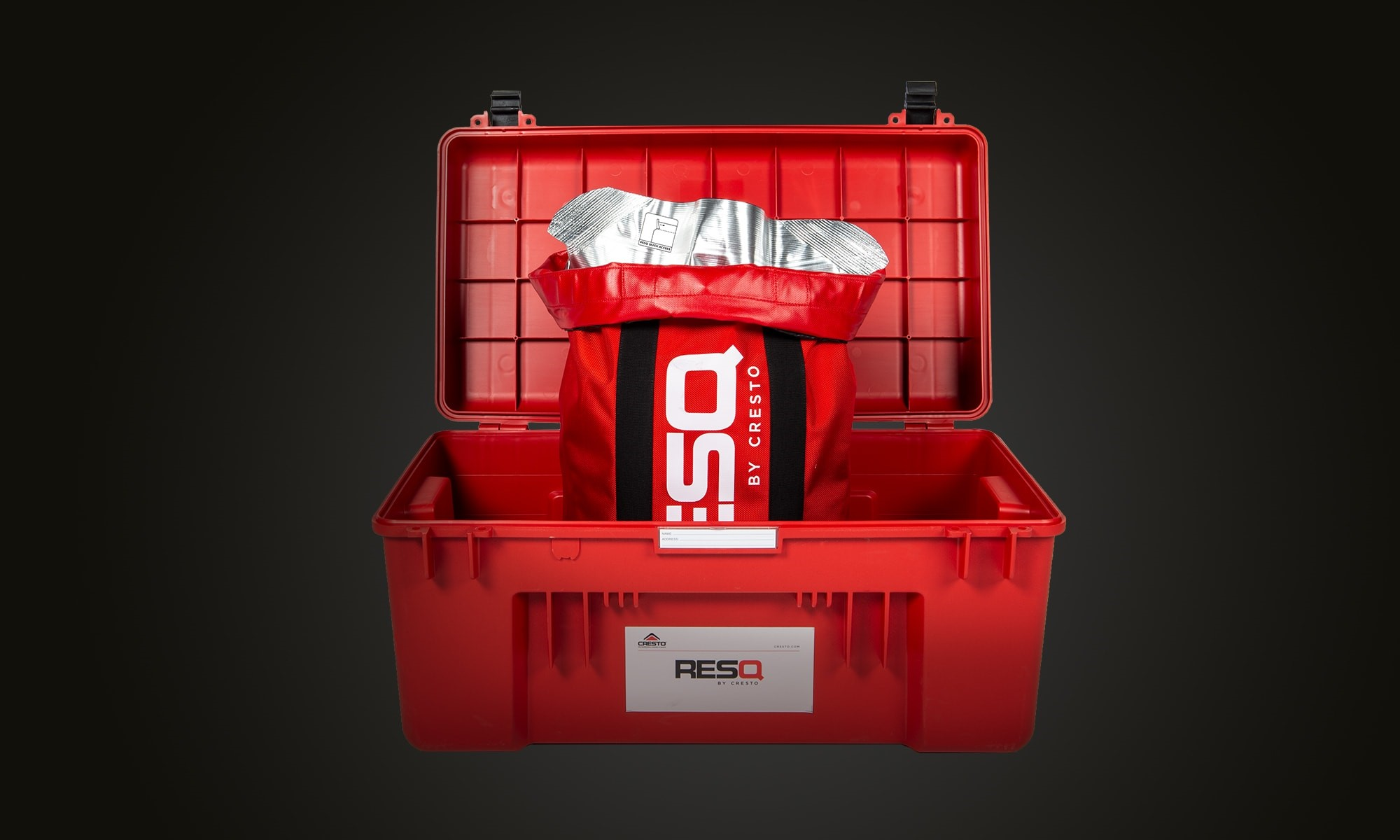 Red RESQ box with vacuum packed rescue equipment